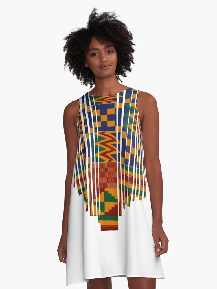 Kente Design African Print African Clothing A Line Dress By Stingchic Redbubble