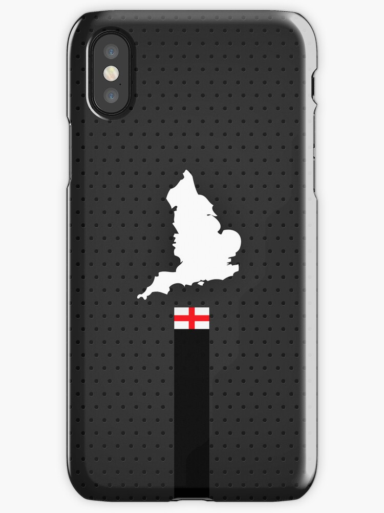 England Flag and Map - Black Stripe on Dark gray by UltraCases