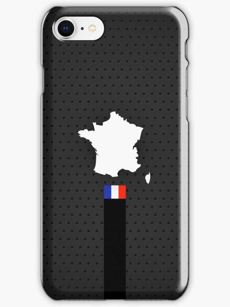 France Flag and Map - Black Stripe on Dark gray  by UltraCases
