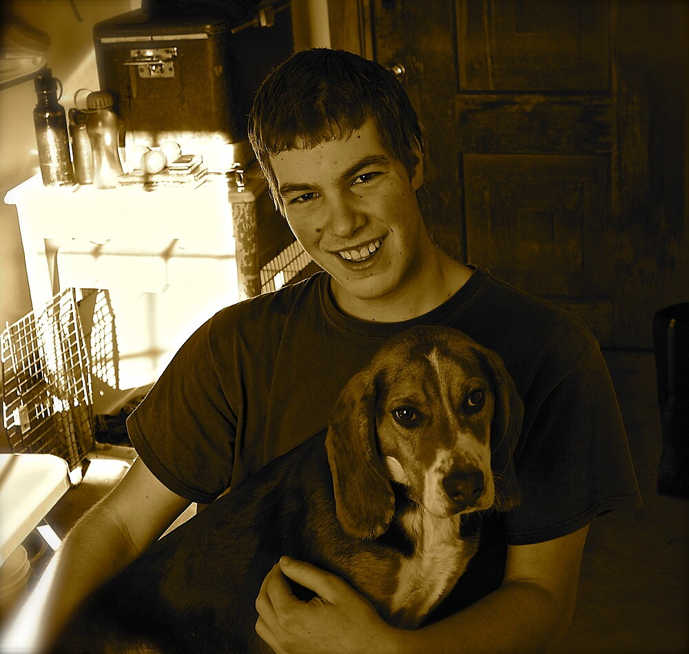 Young Man and His Dog by finsphotos