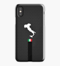 Italy Flag and Map - Black Stripe on Dark gray iPhone Case/Skin