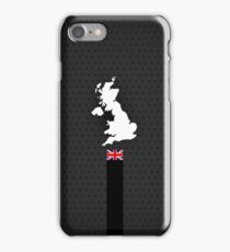 UK Flag and Map - Black Stripe on Dark gray iPhone Case/Skin