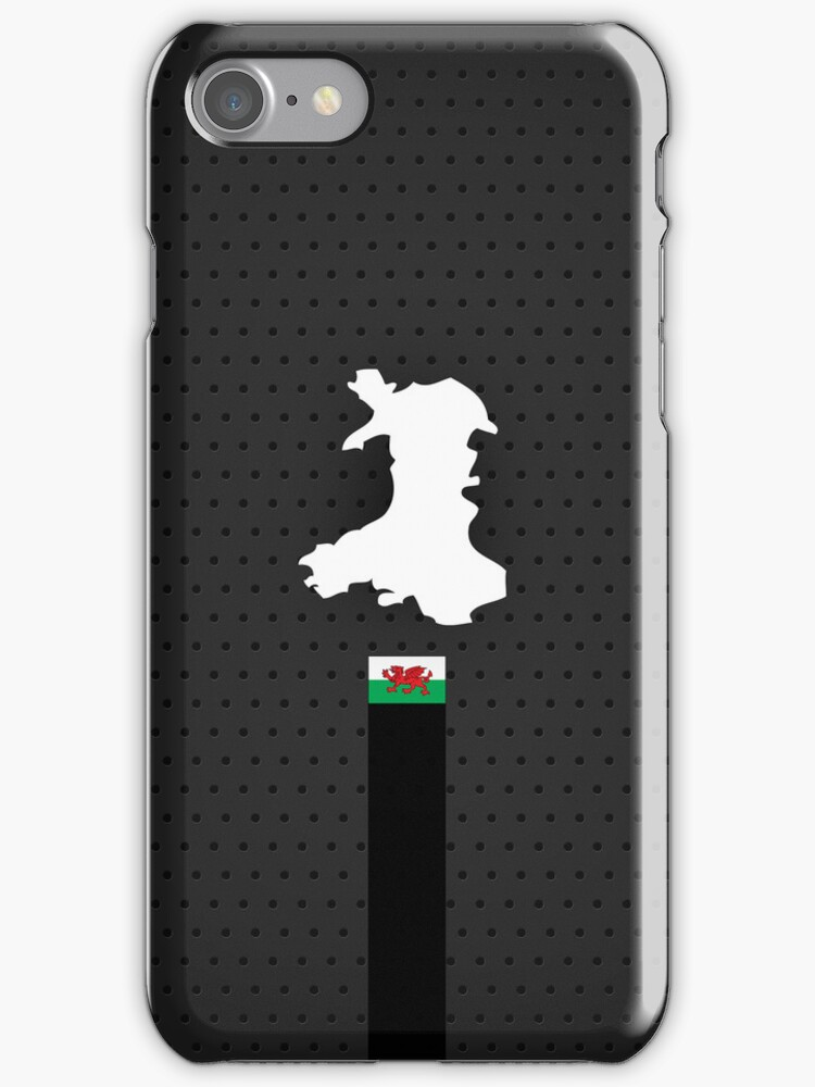 Wales Flag and Map - Black Stripe on Dark gray by UltraCases