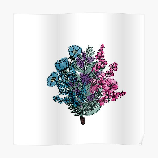Water color flower bouquet  Poster