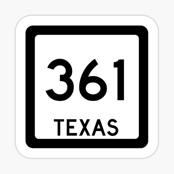 Texas State Route 361 (Area Code 361) Sticker