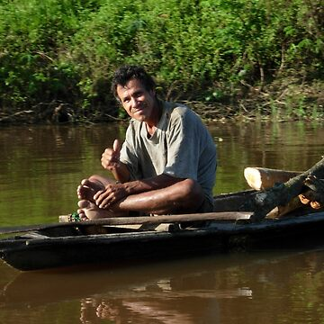 Peruvian in small boat, Amazon, Peru, near Iquitos by Maurits