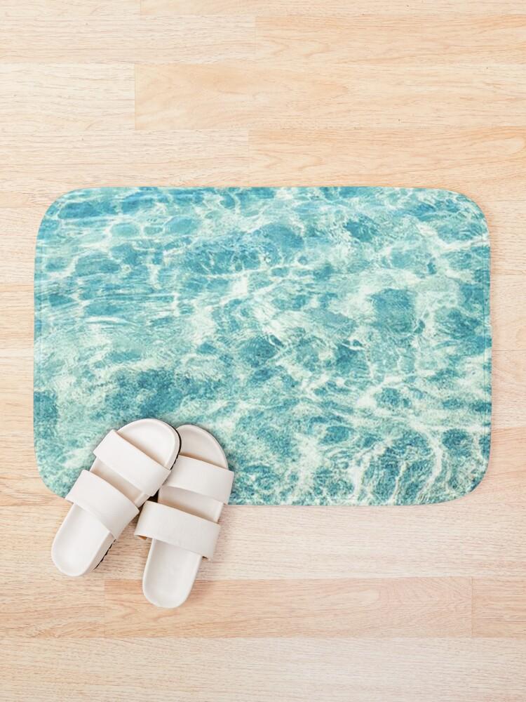 Alternate view of Crystal Clear Aqua Blue Ocean Water Bath Mat