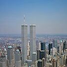Aerial view of New York City, with Twin Towers of the World Trade Center visible iPhone Case by iphonejohn