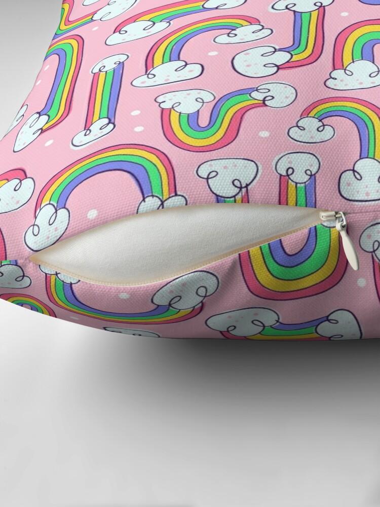 Alternate view of Curvy Rainbows Throw Pillow