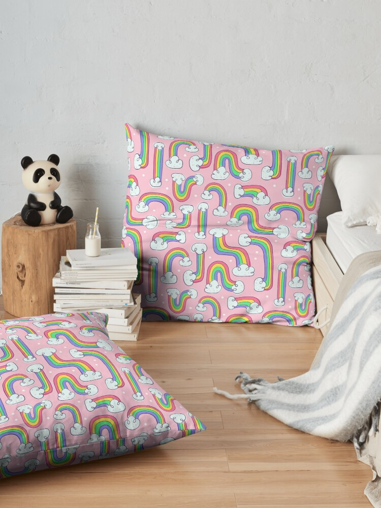 Alternate view of Curvy Rainbows Floor Pillow