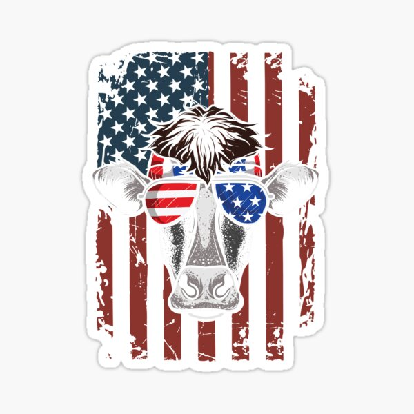 Patriotic Cow 4th Of July Independence Day Sticker