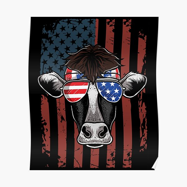 Patriotic Cow 4th Of July Independence Day Poster