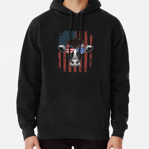 Patriotic Cow 4th Of July Independence Day Pullover Hoodie