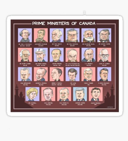 Canada's Prime Ministers (updated for 2015-2019) Sticker