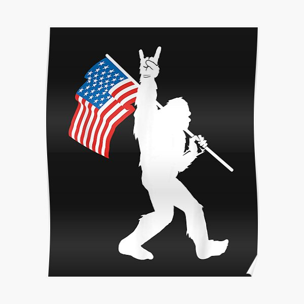 Funny Bigfoot Rock and Roll USA Flag for Sasquatch Believers Poster
