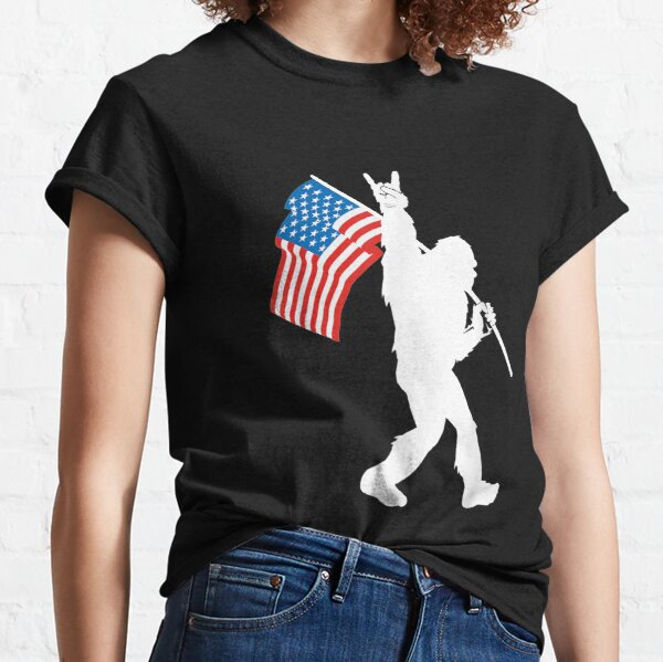 Funny Bigfoot Rock and Roll USA Flag for Sasquatch Believers Classic T-Shirt
