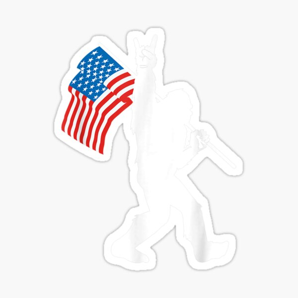 Funny Bigfoot Rock and Roll USA Flag for Sasquatch Believers Sticker