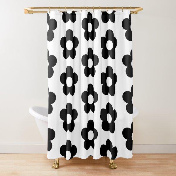 Retro Blume in schwarz Duschvorhang