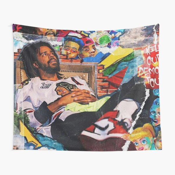 J Cole Collage Tapestry