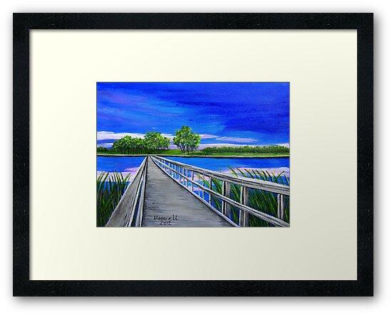 Walking bridge on the lake  by maggie326
