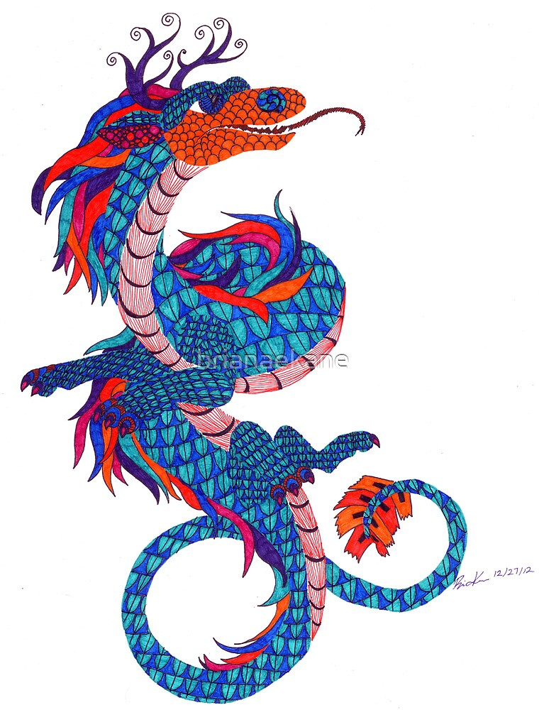 Eastern Dragon Doodle by Briana Kane