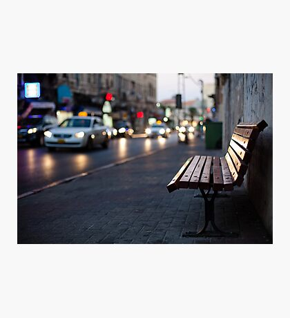 empty bench and busy road Photographic Print