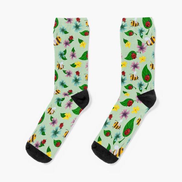 Bees and ladybugs. Summer pattern. Socks