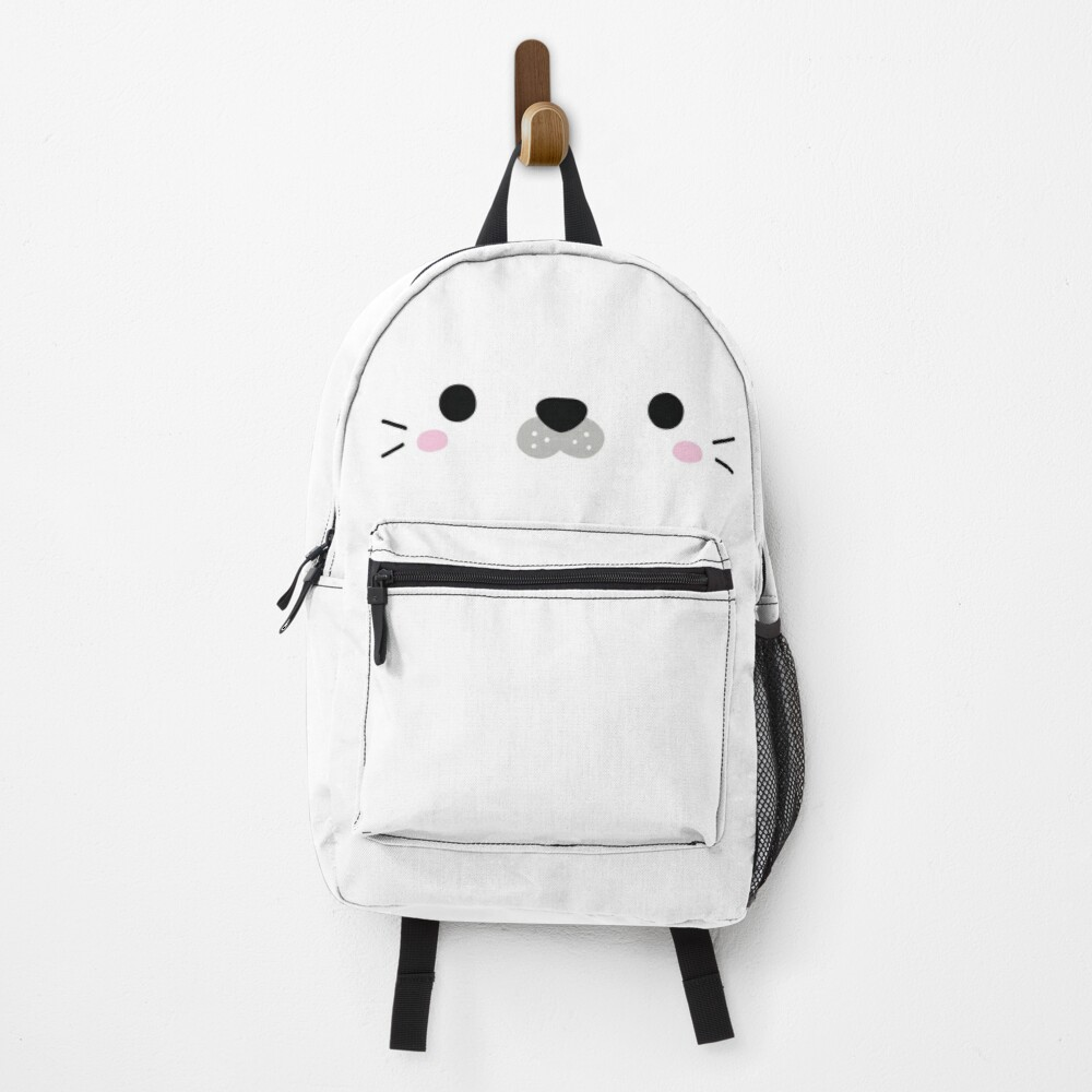 Cute White Seal Face Backpack