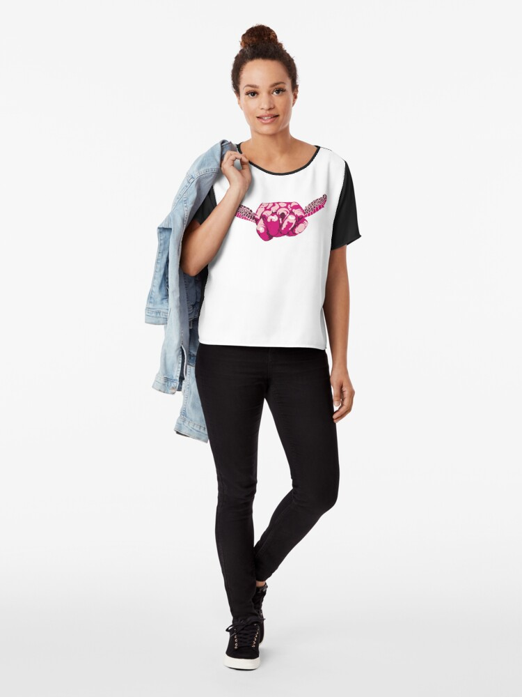 Alternate view of Turtle Hand Signal - Pink Chiffon Top