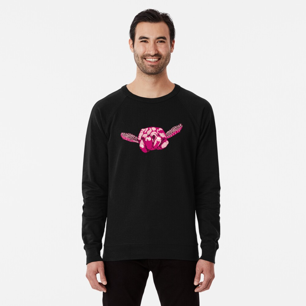 Turtle Hand Signal - Pink Lightweight Sweatshirt