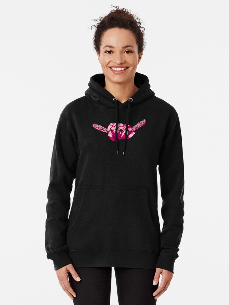 Alternate view of Turtle Hand Signal - Pink Pullover Hoodie