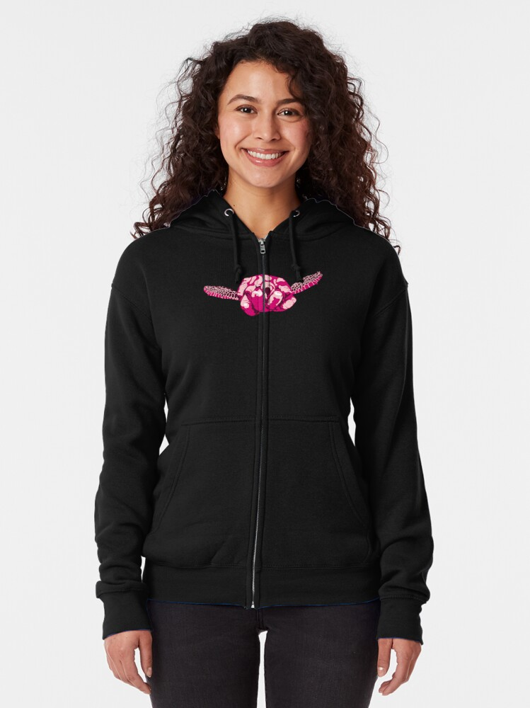Alternate view of Turtle Hand Signal - Pink Zipped Hoodie