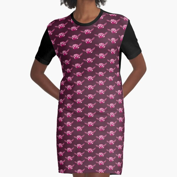 Turtle Hand Signal - Pink Graphic T-Shirt Dress
