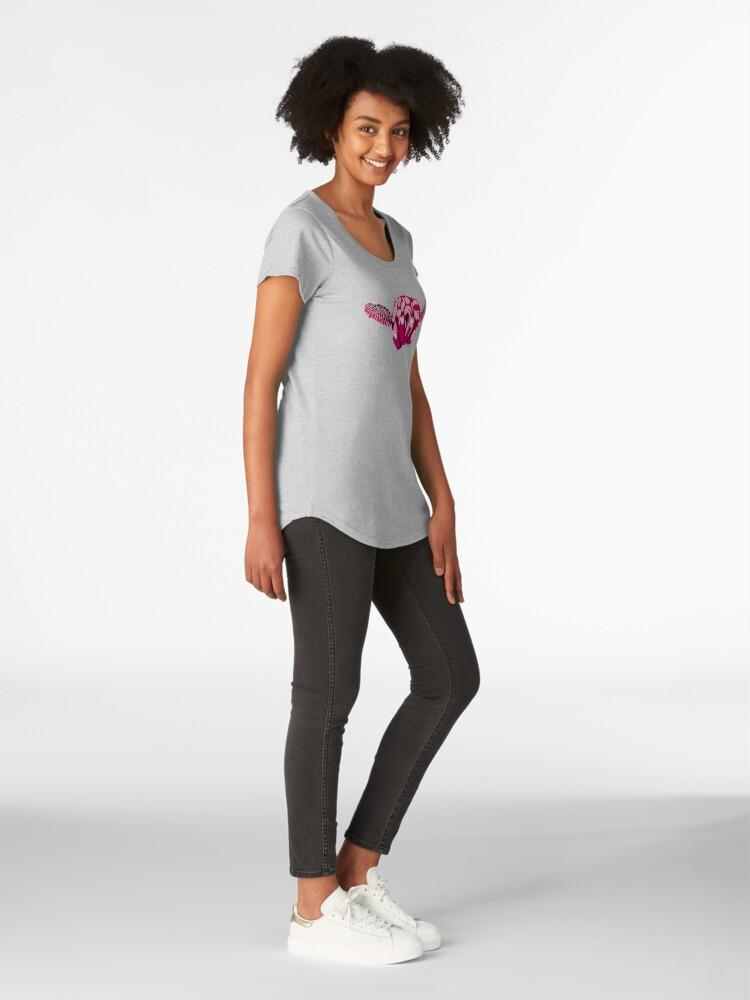 Alternate view of Turtle Hand Signal - Pink Premium Scoop T-Shirt