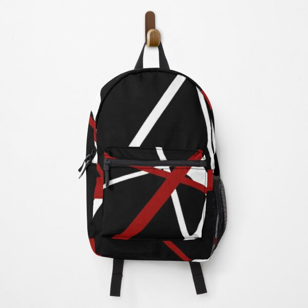 Red and White Stripes on A Black Background Backpack