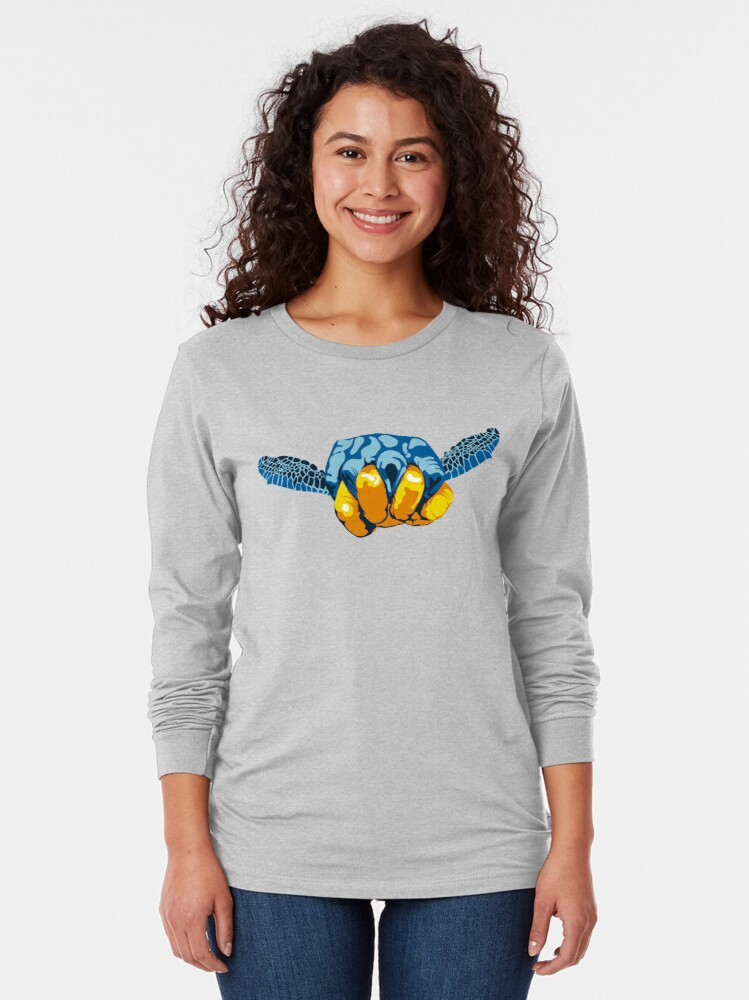 Alternate view of Turtle Hand Signal Long Sleeve T-Shirt