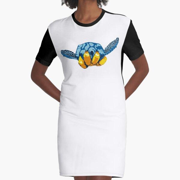 Turtle Hand Signal Graphic T-Shirt Dress