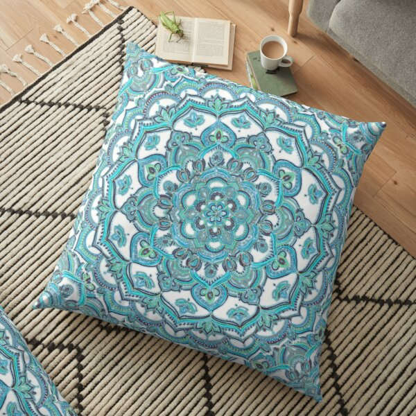 Summer Bloom - floral doodle pattern in turquoise & white Floor Pillow