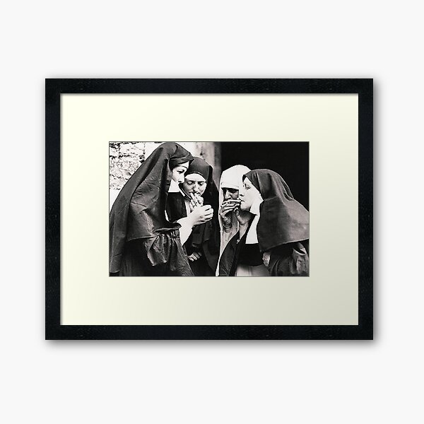 Smoking Nuns Framed Art Print