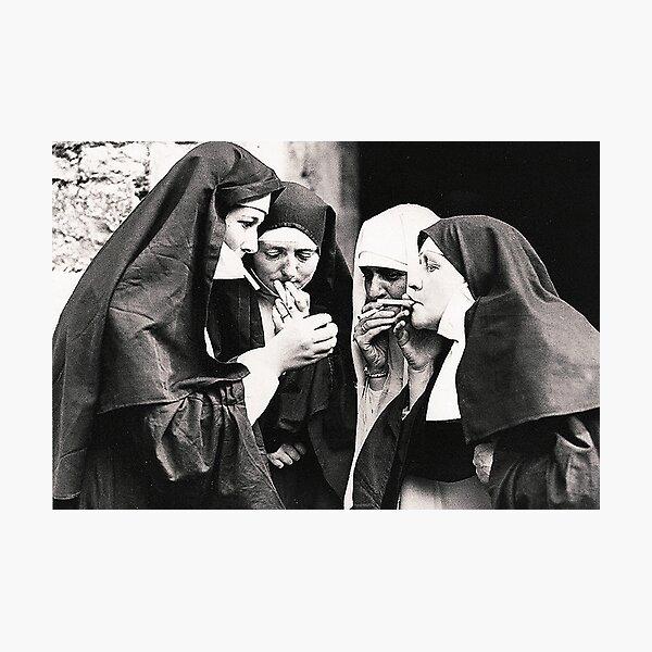 Smoking Nuns Photographic Print
