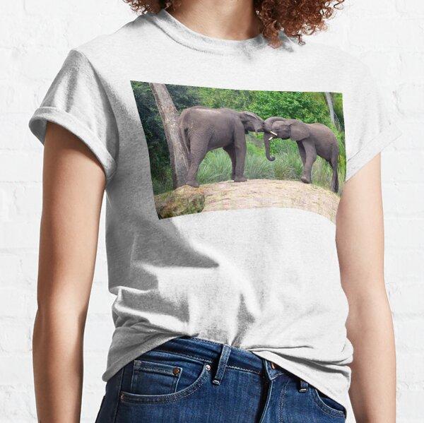 African Elephants Interacting Classic T-Shirt