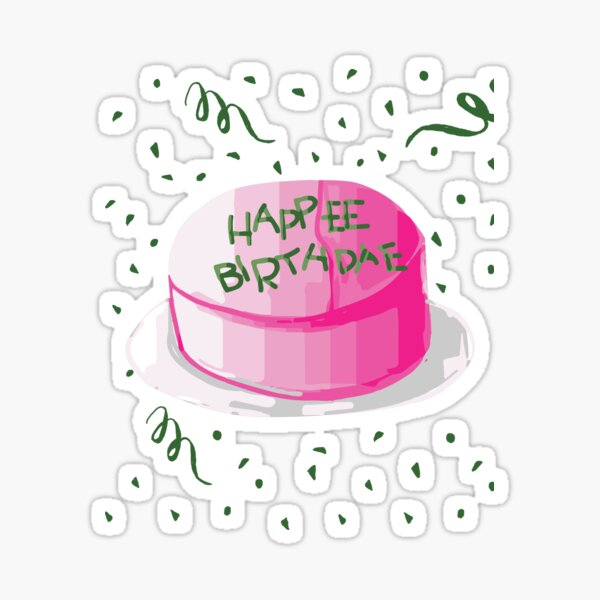 Iconic Happee Birthdae Pink And Green Frosting Birthday Cake Pegatina