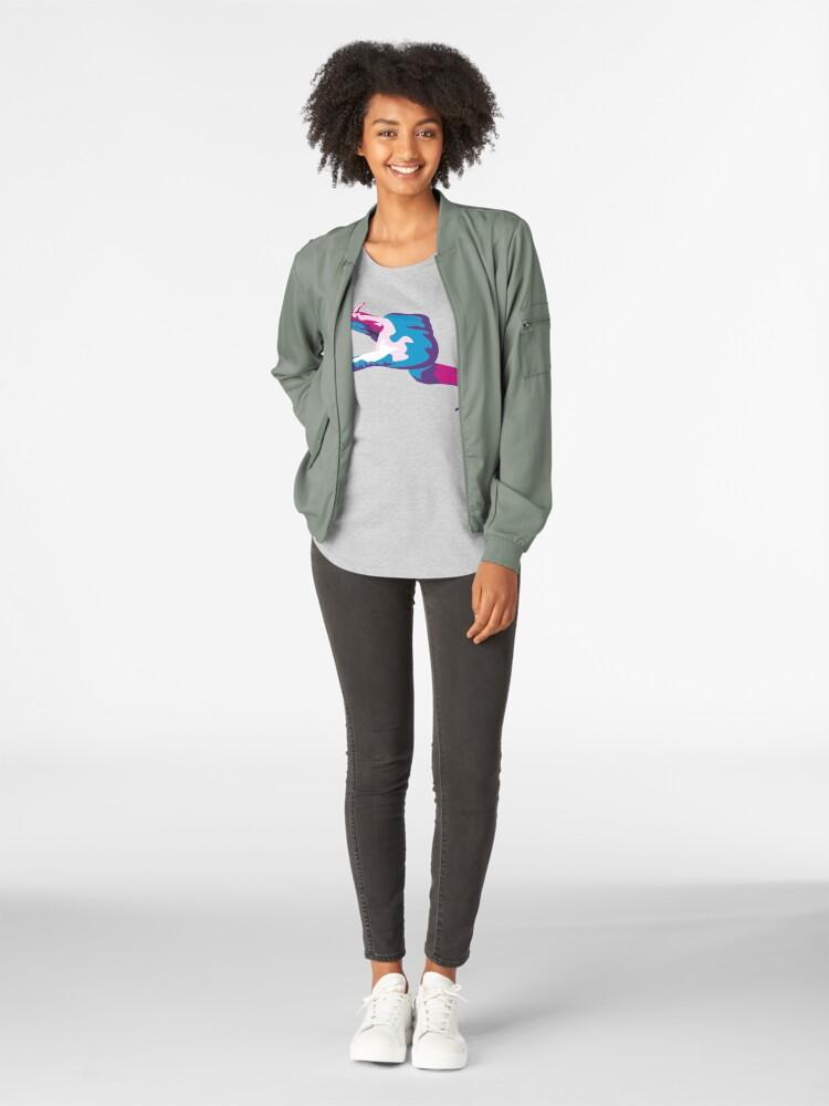 Alternate view of Moray Eel Hand Signal Premium Scoop T-Shirt