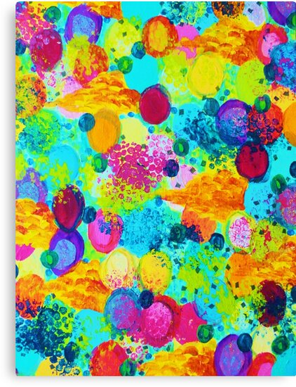 TIME FOR BUBBLY - Colorful Bright Bold Abstract Acrylic Painting, Turquoise Royal Blue Magenta by EbiEmporium