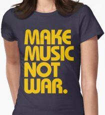 Make Music Not War (Mustard) Women's Fitted T-Shirt