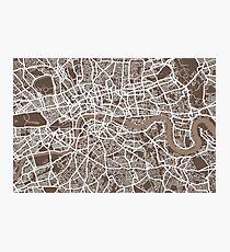 London Map Coffee Brown Photographic Print