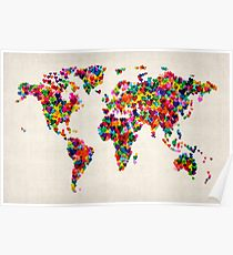 Love Hearts Map of the World Map Poster