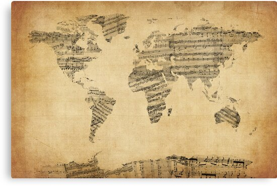 Map of the world map from old sheet music canvas prints by michael map of the world map from old sheet music by michael tompsett publicscrutiny Choice Image