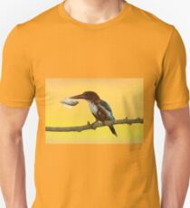 White-throated kingfisher with a fish in its beak Unisex T-Shirt