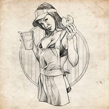 Coffee Girl Pinup Girl Sketch by brentms